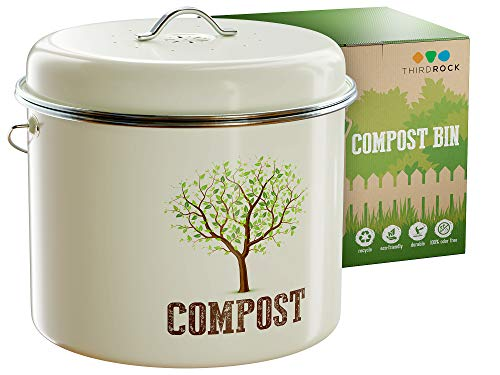 Third Rock Compost Bin for Kitchen Counter - 1.3 Gallon 5 Liter | Premium Dual Layer Powder Coated Carbon Steel Compost Bucket for Kitchen | Includes Charcoal Filter for Kitchen Compost Bin ()