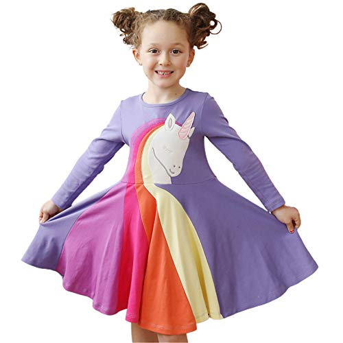 TSWRK Jurk meisjes lange mouwen jurk A-lijn lange mouwen jurk prinses jurk eenhoorn patroon herfst voor 3-7 jaar