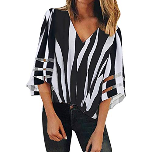 Shusuen Womens 3/4 Bell Sleeve V Neck Lace Patchwork Blouse Casual Loose Shirt Tops Lady Stripe Splice Elegant Pullover Black