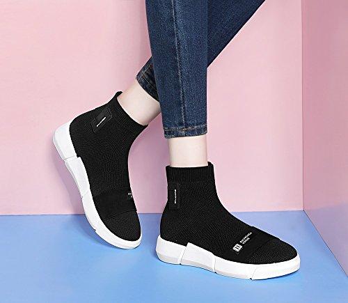 Wasserdichte Schuhe Freizeitschuhe Toe Gummiband Neue High Damen Runde Schuhe Flache Exing Plateauschuhe Hilfe Womens wq0f7SS