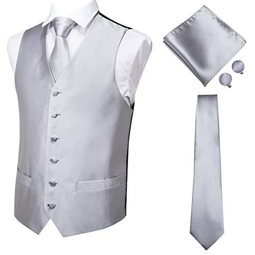 Hi-Tie Men's 4pc Vest Necktie Pocket Square Cufflinks Set for Suit or Tuxedo More Color for Choose (Silver Grey, XXXL)