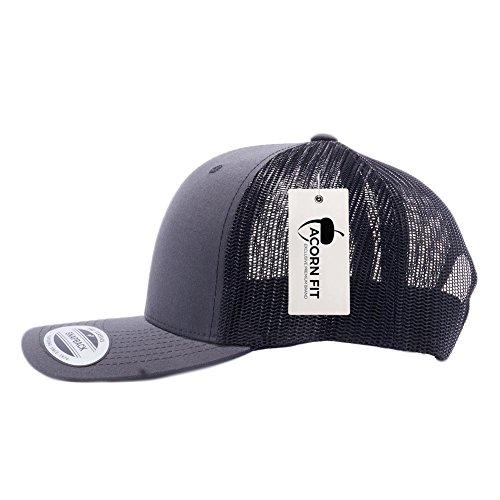 Yupoong Classic 6606, 6606T, 6606W, Retro Trucker Hats, Mesh Back Baseball Caps (Snapback Cap Charcoal)