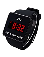 SKMEI Water Resistant LED Digital Display Silicone Band Sport Electronic Wrist Watch with Animation Character Set - Black