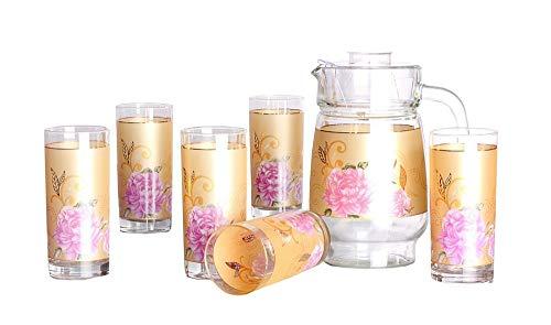 TkUniware Home Kitchen, Dining & Bar 7 Pcs Glass Pitcher Set Golden Pink Flower A10101 from TkUniware