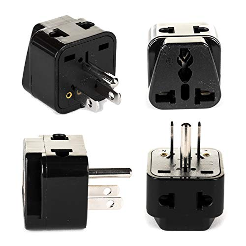OREI 2 in 1 Universal to Grounded USA Adapter Plug (Type B)- 4 Pack, Black