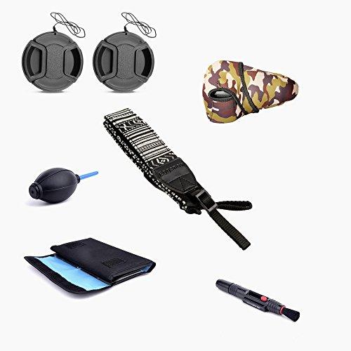 Eggsnow Neoprene Camera Sleeves Bag + Shoulder Strap + 6-Pocket Fliter Bag + 52MM 2 Lens Cap + Air Blower + Clearning Pen for Canon Nikon Sony DSLR Camera (52mm)