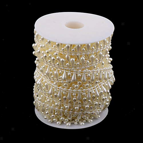 15 Meters Wedding Pearls Fishing Line Artificial Beads Chain DIY Party Decor | Color - Beige