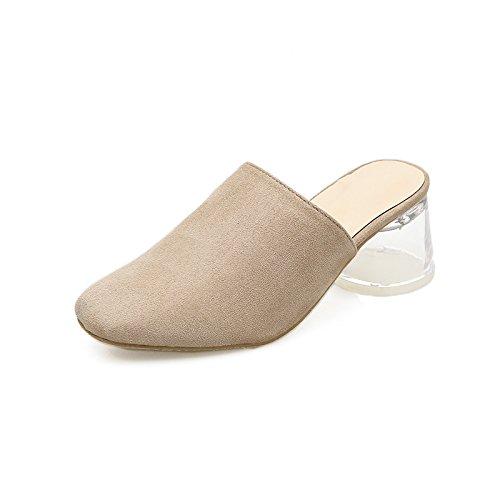 GTVERNH-Frau Xia Jiping Ferse Schuhe Baotou Grob Ferse Abdichtung Frauen Schuhe Baotou Hochhackigen Schuhe Ab Einfach Transparent Und Semi - Pantoffeln
