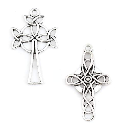 Celtic Cross Charms, 40 pc (20 of Each) Antiqued Silver Tone Pendants, About 1 1/2 Inch Long (Set A)