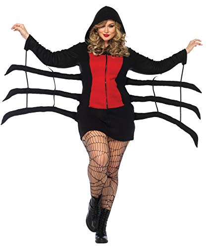 Short Skirt Long Jacket Halloween Costume (Leg Avenue Women's Plus Size Cozy Black Widow Spider Halloween Costume, Red,)