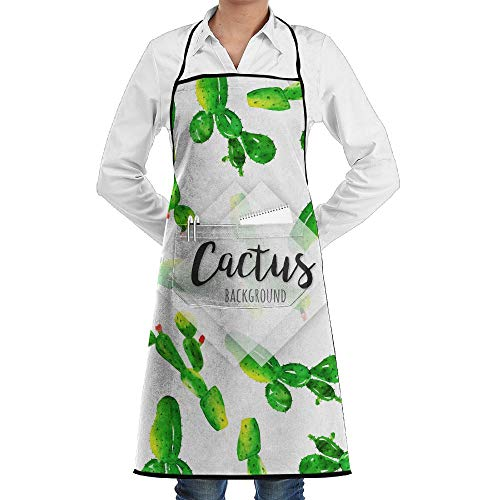 LOGENLIKE Tropical Cactus Kitchen Aprons, Adjustable Classic Barbecue Apron Baker Restaurant Black Bib Apron With Pockets For Men And Women
