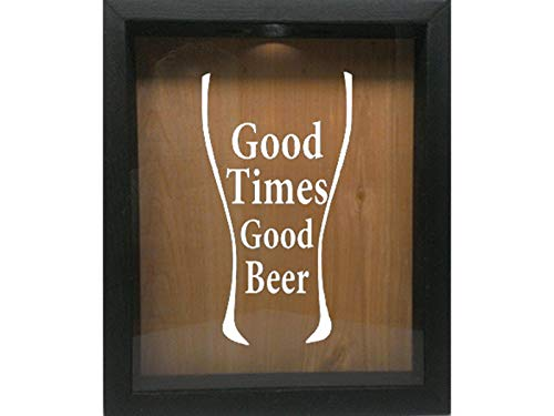 Wooden Shadow Box Wine Cork/Bottle Cap/Tickets 9x11 - Good Times Good Beer in Glass (Ebony w/White)