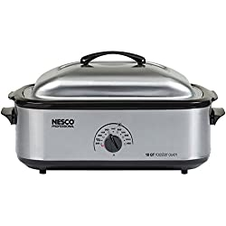 Nesco 481825PR 18 Qt Professional Stainless Steel Roaster Oven with Porcelain Cookwell