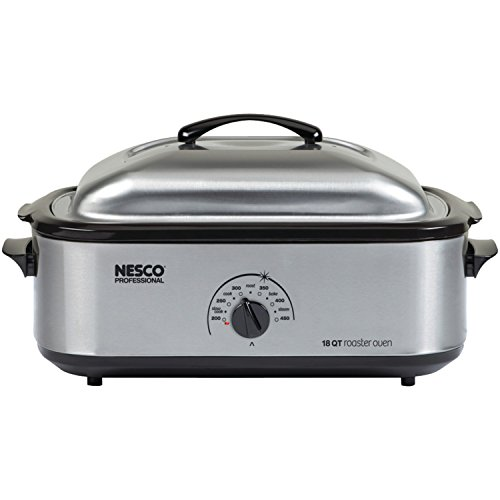 Nesco 481825PR Professional Stainless Steel Roaster Oven with Porcelain Cookwell - 18-Quart