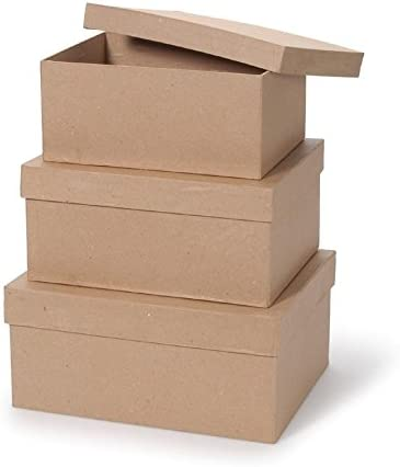 Darice Value Pack Paper Mache Box Set Rectangle 9, 10 & 11 inches