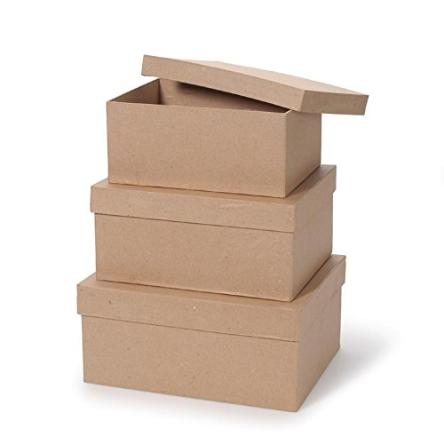 Darice Value Pack Paper Mache Box Set Rectangle 9, 10 & 11 inches ()