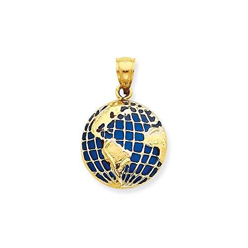 Roy Rose Jewelry 14K Yellow Gold BlueTranslucent Acrylic Globe Pendant