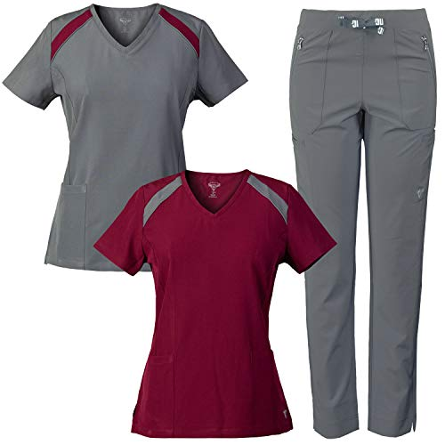 MG Superflex 3-Piece Stretch Scrubs Combo, V-Neck Tops and Multi-Pocket Pant (Pewter/Burgundy, XL)