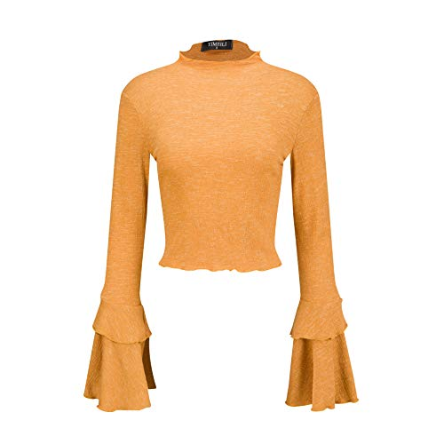 Yimeili Women's Knit High Neck Trumpet Flare Bell Sleeve Blouse Long Sleeve T-Shirts Tops (XS, - Long Sleeve Trumpet