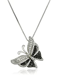 """Sterling Silver Genuine Black Spinel and Created White Sapphire Butterfly Pendant Necklace, 18"""""""