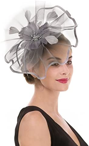 HIDOLL Fascinator Hat Feather Mesh Net Veil Party Hat Ascot Hats Flower Derby Hat with Clip and Hairband for Women