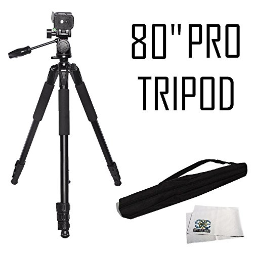 - Professional 80-Inch Built in Bubble Leveling, 3-way Panhead with Tilt Motion, Angled Legs, Heavy Duty Tripod Extend to 80