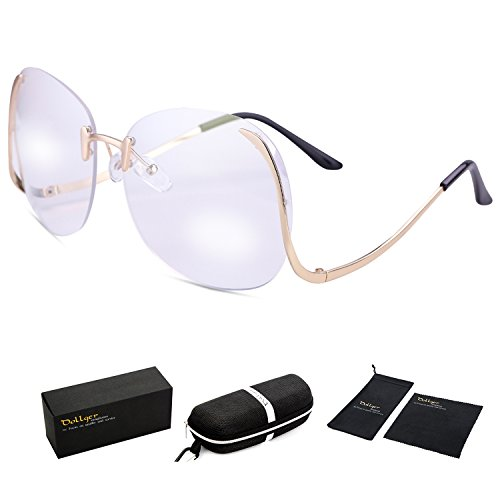 Dollger Oversized Rimless Sunglasses for Women Big Frame Clear Lens Glasses(Clear Lens+Gold Frame, 100% UV Protection - Frame Big Gold