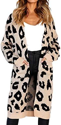 Angashion Sleeves Leopard Knitting Cardigan product image
