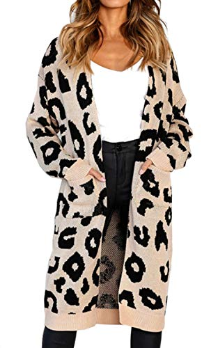 Angashion Women's Long Sleeves Leopard Print Knitting Cardigan Open Front Warm Sweater Outwear Coats with Pocket Gray S