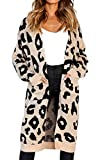 Angashion Women's Long Sleeves Leopard Print Knitting Cardigan Open Front Warm Sweater Outwear Coats with Pocket Khaki L