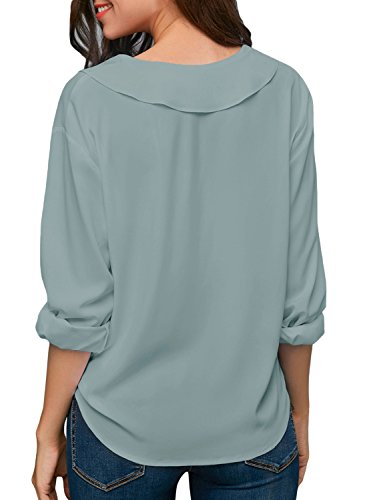 Dokotoo Womens Shirts Loose Plus Size Casual Summer Solid Autumn Long Sleeve V Neck Chiffon Tops Blouses T Shirts for Work X-Large by Dokotoo (Image #1)
