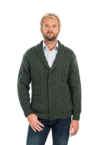 (Mens Aran Cable Shawl-Collar Cardigan (Army Green, Large))
