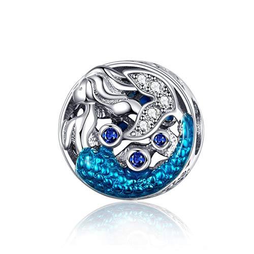 Eternalll Jewellery Original 100% 925 Sterling Silver Charm Bead Love Animal Charm Family Birthday fit Pandoras Bracelets DIY Charms (Mermaid Charms)]()