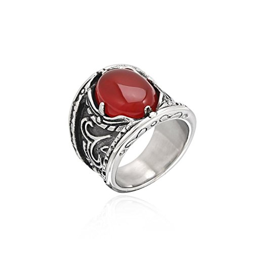 MoAndy Jewelry Men's Fashion Rings Stainless Steel Inlaid CZ Classical Wolf's Eye Red US 7