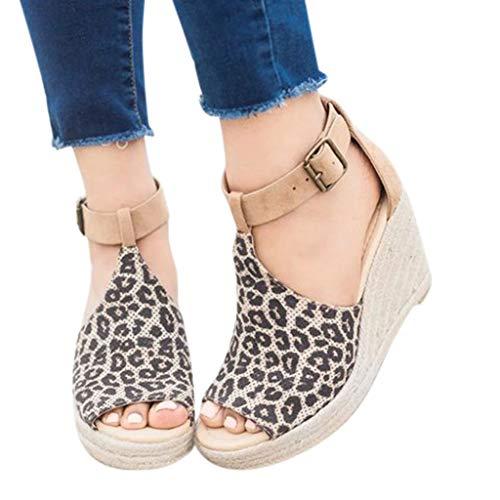 f0d1575bec45a Fainosmny Womens Shoes Platform Sandals for Women Flock Leopard Sandals  Plus Size Ankle Shoes Peep Toe Wedges Sandals Yellow