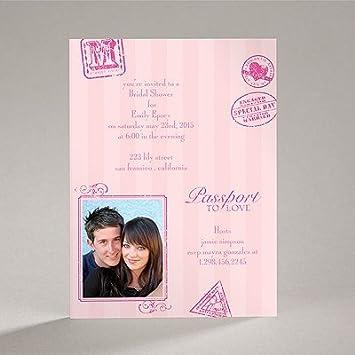 passport to romance pink bridal shower invitation