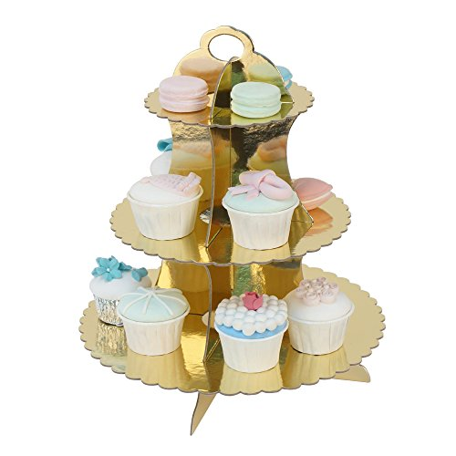RiscaWin 3-Tier Round Stacked Party Cupcake and Dessert Stand Cupcake Tower Laciness Gold