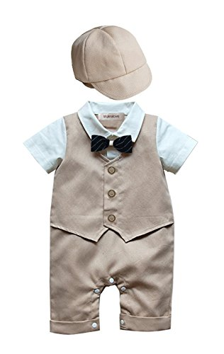 stylesilove Baby Boy Formal Wear Romper and Hat 2-Piece (90/12-18 Months, Khaki)