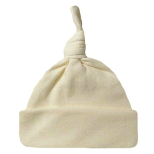 Jacqui's Unisex Baby Cotton Knit Knotted Hats - Lots Colors, Small Newborn, Ivory