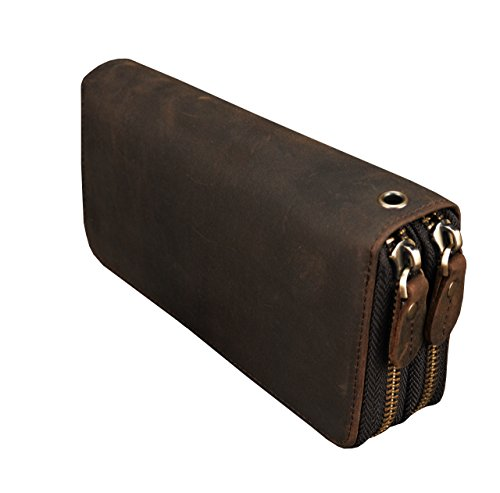 LUUFAN Men's Genuine Leather Clutch Bag Double Zipper Purse Zip-Around Wallet
