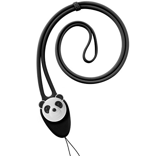 - Silicone Lanyard Neck Strap, Bone Collection Soft Elastic Cute Colorful Long String Necklace for ID Badge Holder Name Tag Keys Keychain Cell Phone iPhone Case Wallet Kids Teen Girls Women -Black/Panda