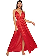 SheIn Women's Sexy Satin Deep V Neck Backless Maxi Party Evening Dress