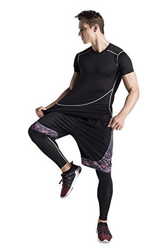 選択するビジュアル港メンズ トレーニングウェア コンプレッションウェア 3点セット 半袖シャツ ハーフパンツ タイツ スポーツ トレーニング
