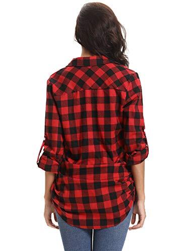 Autunno Donna Di Lunghe Casual Primavera Camicia Stile Flanella Quadri Inverno Per nero lungo A Rosso Abollria Boyfriend Maniche Classici Bluse fn4xZ5F