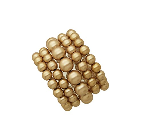 Gold Matte - Fashion 21 Women's Simulated Pearl Stretch Bracelet Stack 5 Piece Set (Many Colors Available) (Matte Gold)