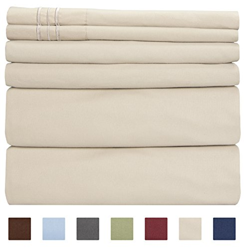 Queen Size Sheet Set - 6 Piece Set - Hotel Luxury Bed Sheets - Extra Soft - Deep Pockets - Easy Fit - Breathable & Cooling Sheets - Wrinkle Free (Bone Quilt)