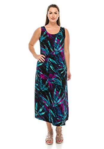 Jostar Women's Stretchy Tank Long Dress Sleeveless Plus Print 3XL Teal Animal - Animal Print Tank Dress