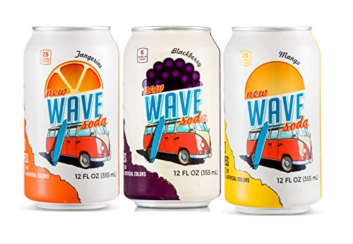 Wave Soda Caffeinated Sparkling Water with Fruit Juice 24 Count Variety Pack 3 Flavor Variety Pack: 8 Tangerine, 8 Blackberry, and 8 Mango - Vegan, Gluten-Free, BPA-Free, No Sugar Added, Recyclable