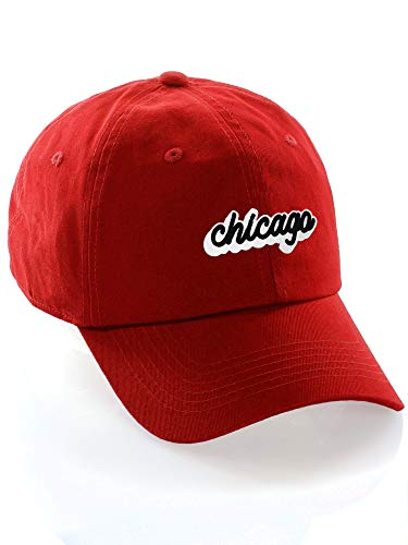 Classic Unstructured USA Cities Baseball Dad Hat 3D Raised PVC Letters Cap, Chicago Red, White -
