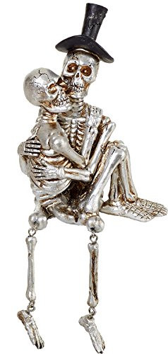 Silver Skeleton Couple Shelf Sitter Funny Halloween Decoration (In (Funny Halloween Office Decorations)